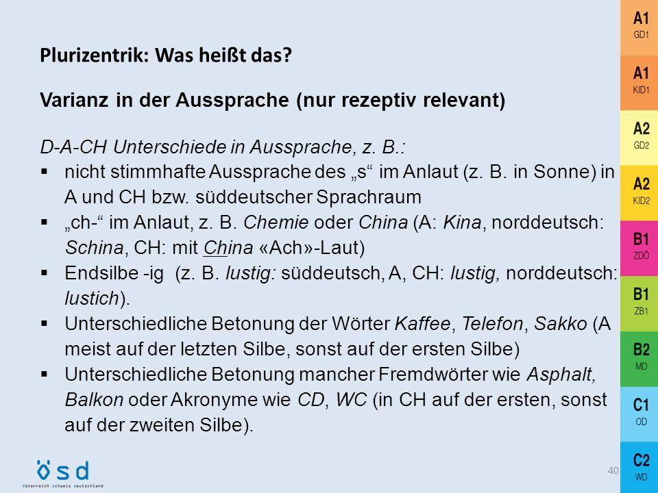 Plurizentrik: Was heißt das? Deutsch ist eine plurizentrische Sprache mit drei nationalen Standardvarietäten (D-A-CH) 39