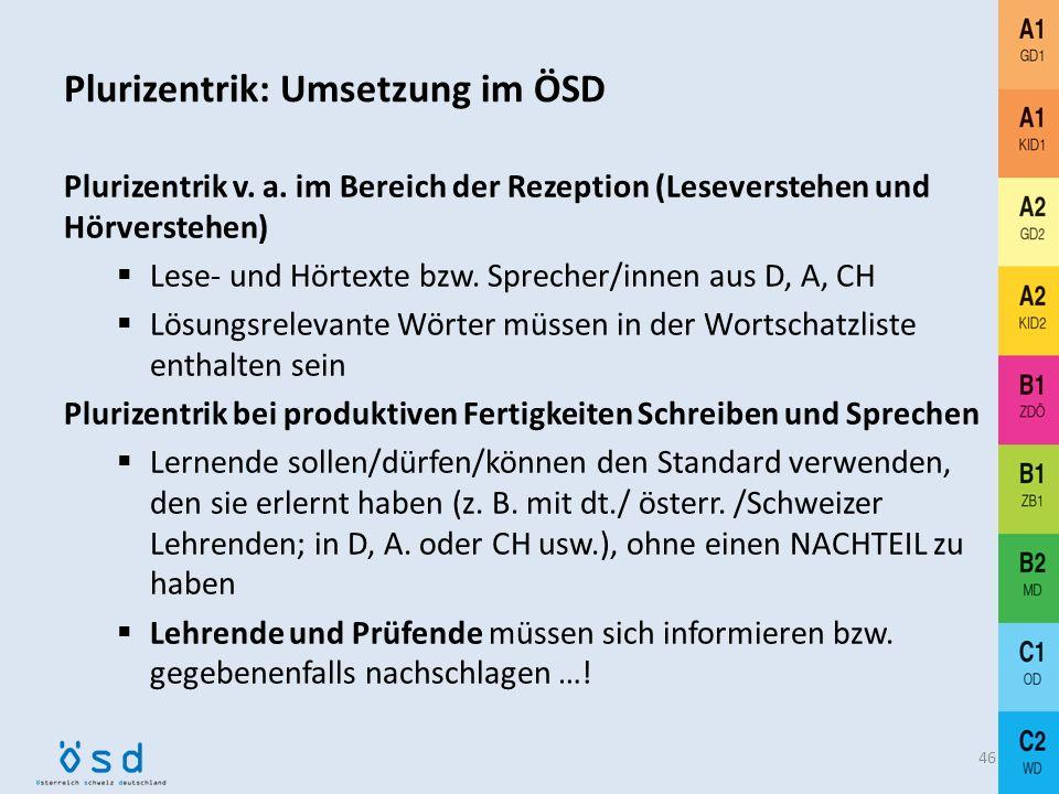 Plurizentrik im ÖSD: Ziele 45 Vorbereitung auf sprachliche Realität bzw. die spezifischen linguistischen und kommunikativen Gegebenheiten in den deuts