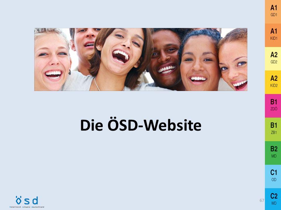 Organisatorischer Ablauf Nach der Prüfung 66 Übermittlung der Ergebnisse per Excel-Datei an die Zentrale siehe www.mitglieder.osd.at Zentraler Ausdruc