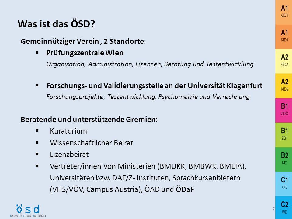 Was ist das ÖSD? international anerkanntes Prüfungssystem für Deutsch als Fremd- und Zweitsprache standardisierte Feststellungsprüfungen, kursunabhäng