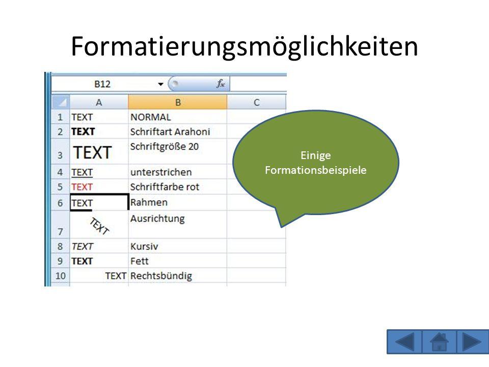 Formatierungsmöglichkeiten Einige Formationsbeispiele