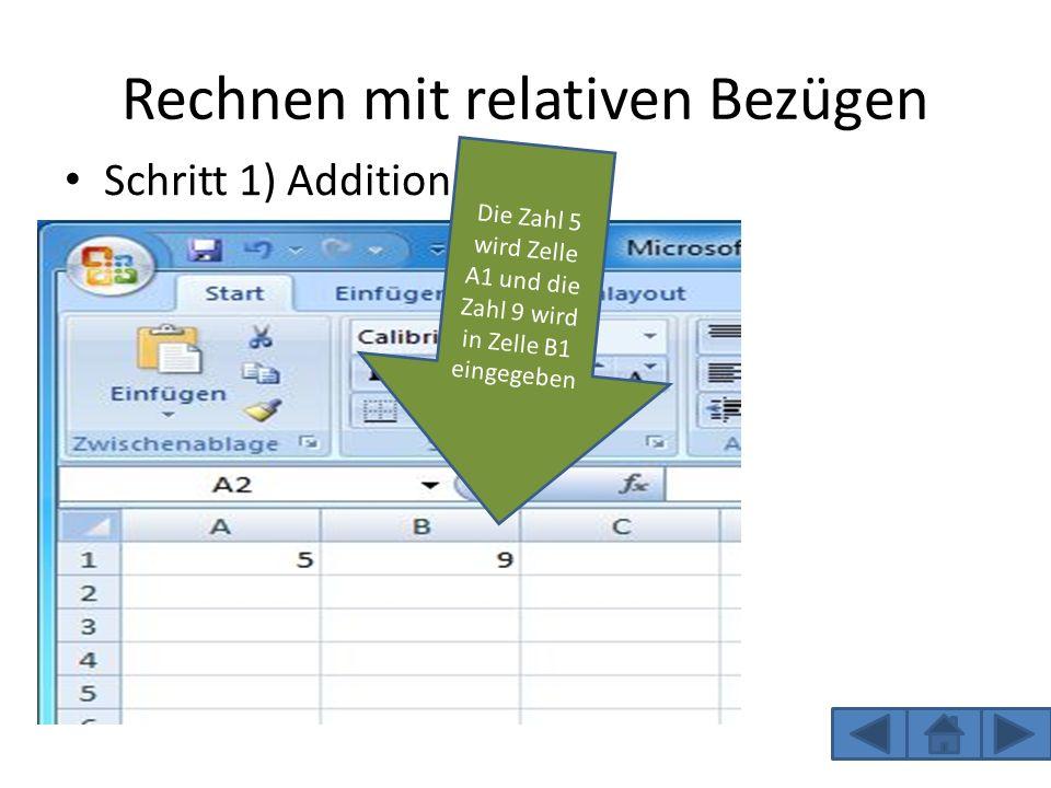 Rechnen mit relativen Bezügen Schritt 1) Addition Die Zahl 5 wird Zelle A1 und die Zahl 9 wird in Zelle B1 eingegeben