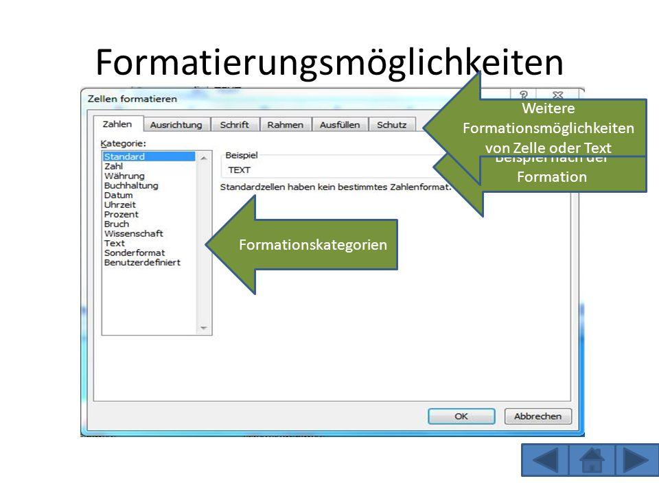 Formatierungsmöglichkeiten Häufig verwendete Formationen Zum Beispiel Schriftart oder Schriftfarbe