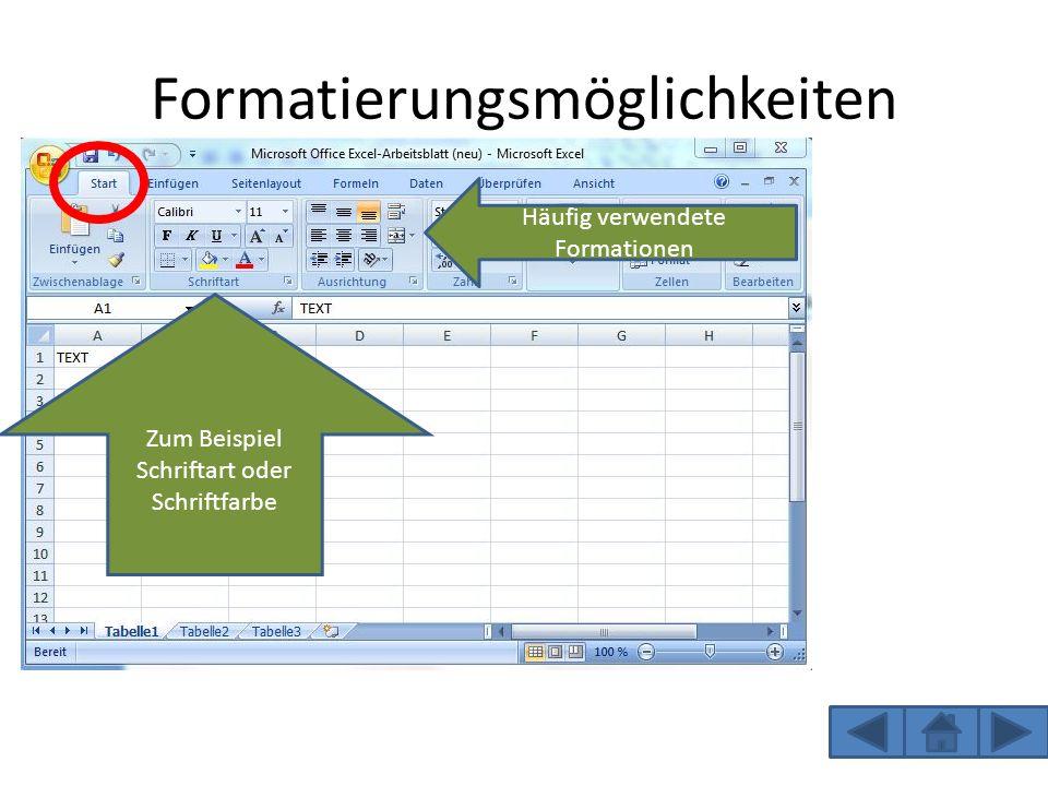 Lösungen Formelansicht: Drückt man nun die Tasten Strg+# so kommt man zur der Formelansicht.