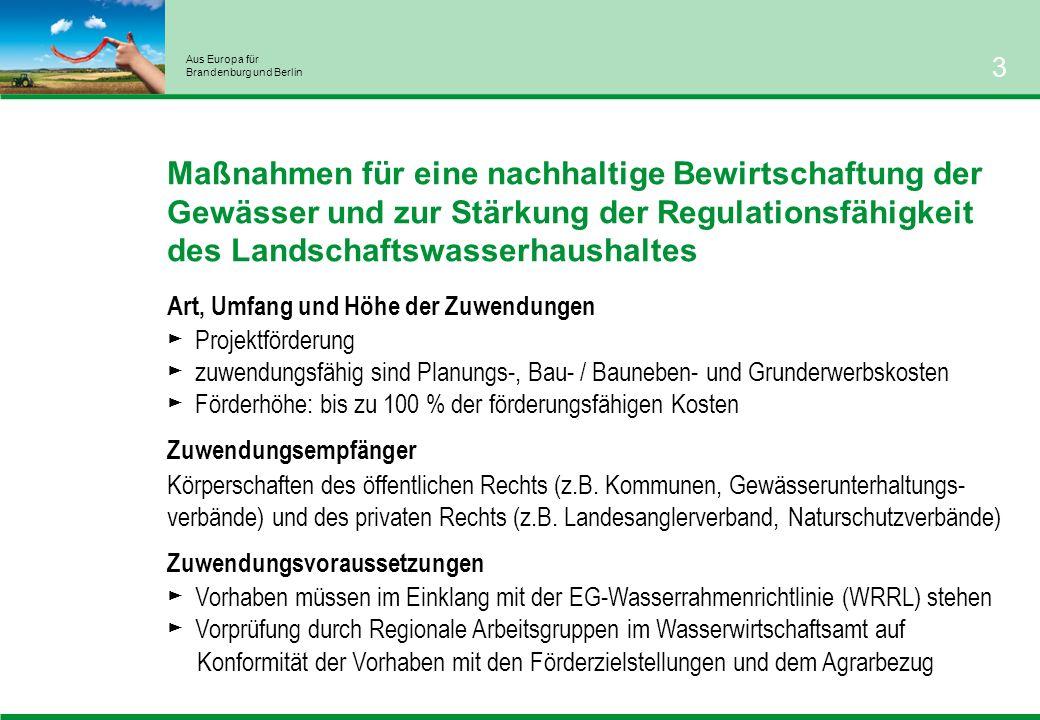 Aus Europa für Brandenburg und Berlin 3 Maßnahmen für eine nachhaltige Bewirtschaftung der Gewässer und zur Stärkung der Regulationsfähigkeit des Landschaftswasserhaushaltes Art, Umfang und Höhe der Zuwendungen Projektförderung zuwendungsfähig sind Planungs-, Bau- / Bauneben- und Grunderwerbskosten Förderhöhe: bis zu 100 % der förderungsfähigen Kosten Zuwendungsempfänger Körperschaften des öffentlichen Rechts (z.B.