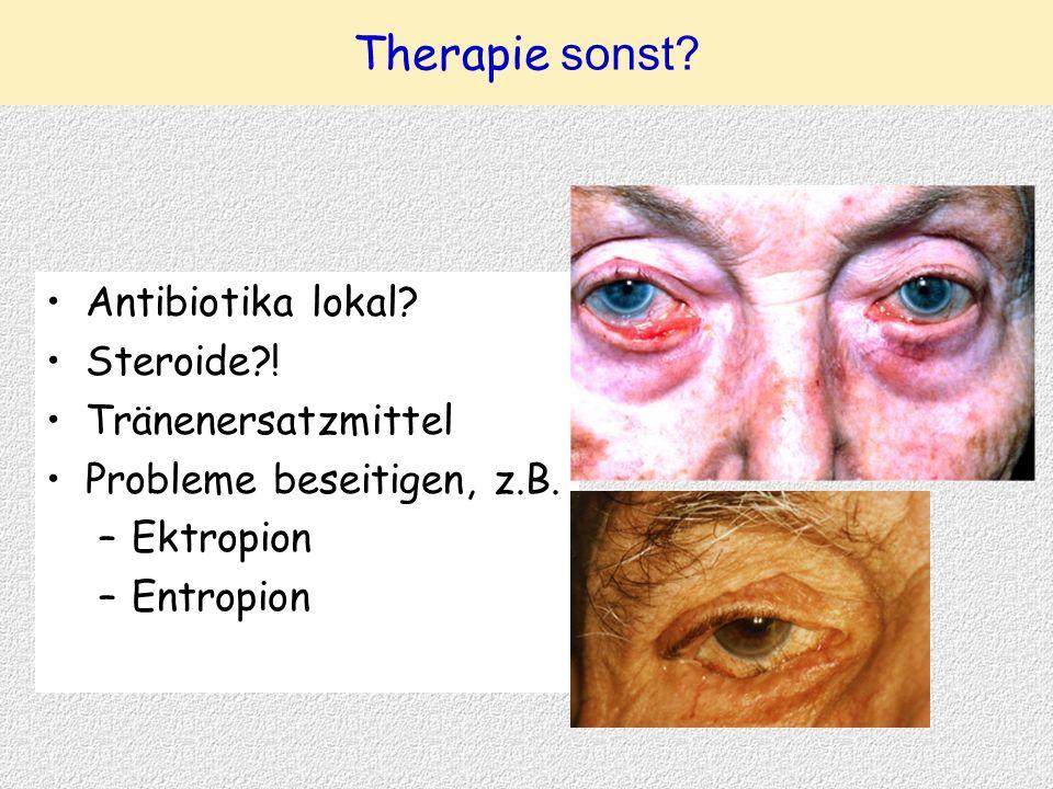 Antibiotika lokal? Steroide?! Tränenersatzmittel Probleme beseitigen, z.B. –Ektropion –Entropion Therapie sonst?