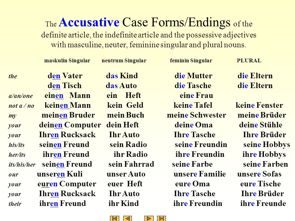 The Accusative Case Forms/Endings of the definite article, the indefinite article and the possessive adjectives with masculine, neuter, feminine singular and plural nouns.