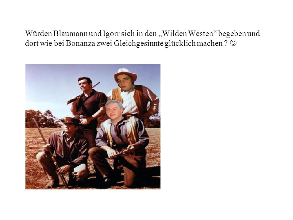 Würden Blaumann und Igorr sich in den Wilden Westen begeben und dort wie bei Bonanza zwei Gleichgesinnte glücklich machen ?