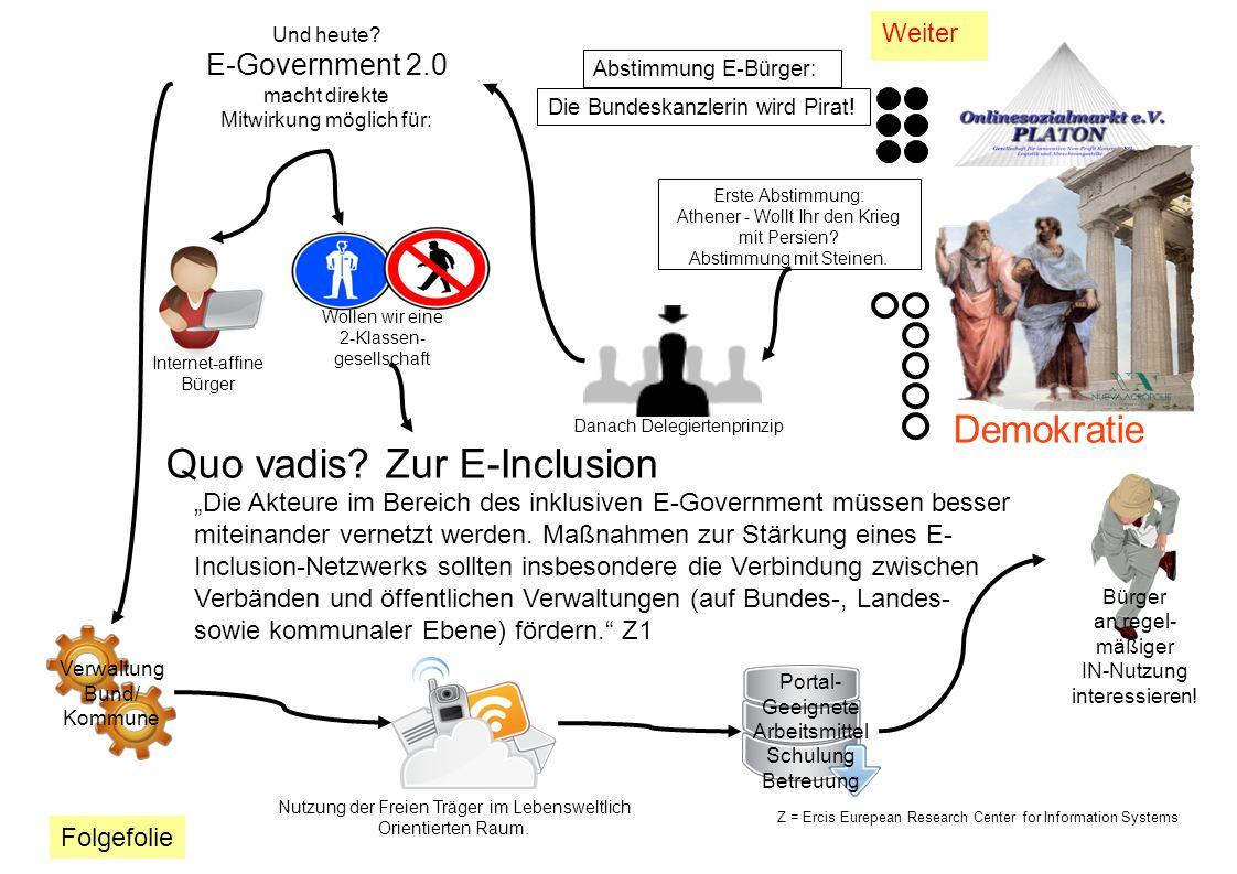 Demokratie Und heute? E-Government 2.0 macht direkte Mitwirkung möglich für: Verwaltung Bund/ Kommune Wollen wir eine 2-Klassen- gesellschaft Quo vadi