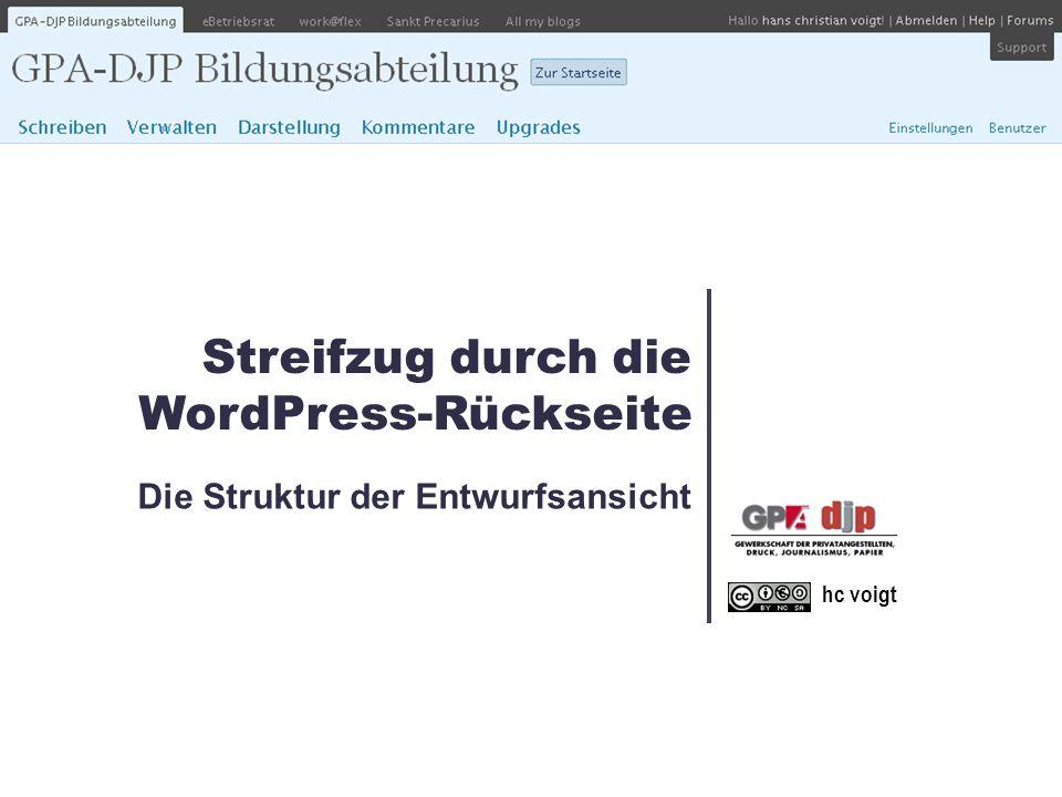 Streifzug durch die WordPress-Rückseite Die Struktur der Entwurfsansicht hc voigt