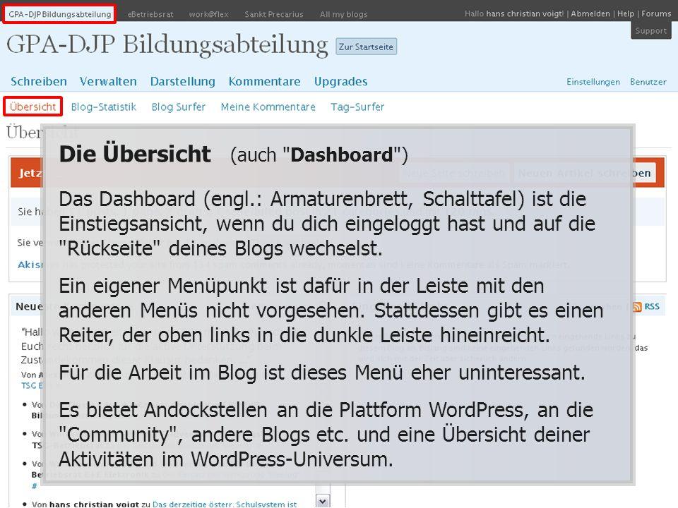 Die Übersicht (auch Dashboard ) Das Dashboard (engl.: Armaturenbrett, Schalttafel) ist die Einstiegsansicht, wenn du dich eingeloggt hast und auf die Rückseite deines Blogs wechselst.