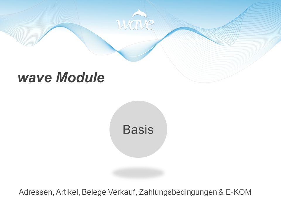 wave Module Basis Adressen, Artikel, Belege Verkauf, Zahlungsbedingungen & E-KOM