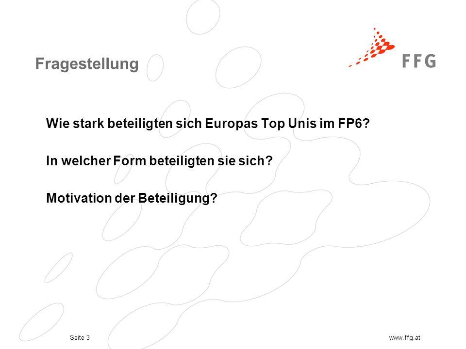 Seite 3www.ffg.at Fragestellung Wie stark beteiligten sich Europas Top Unis im FP6.