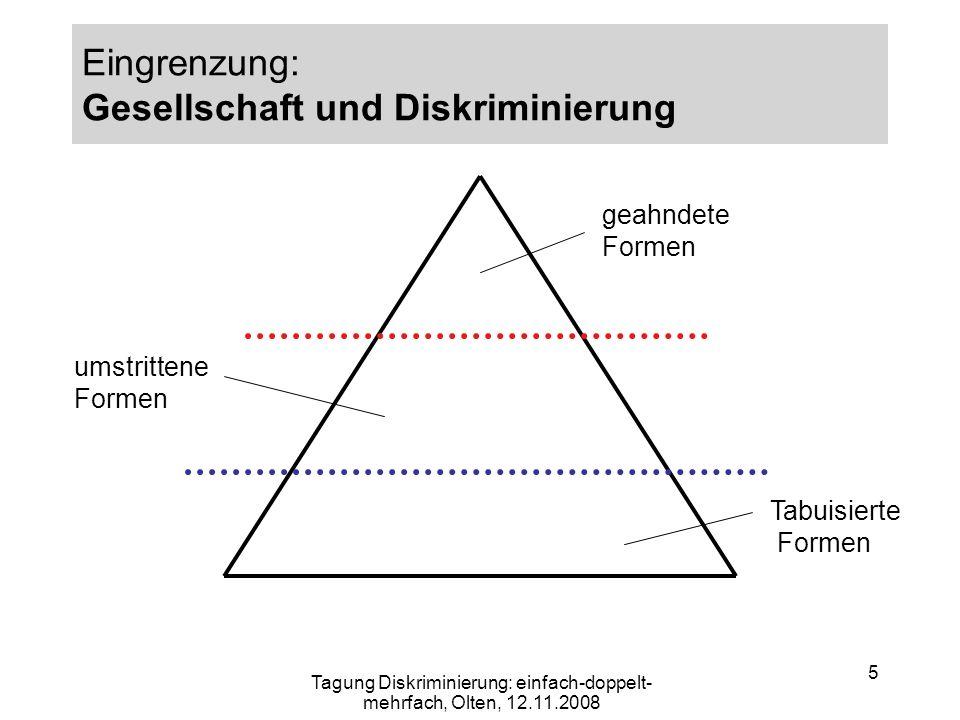 5 Eingrenzung: Gesellschaft und Diskriminierung geahndete Formen umstrittene Formen Tabuisierte Formen Tagung Diskriminierung: einfach-doppelt- mehrfa