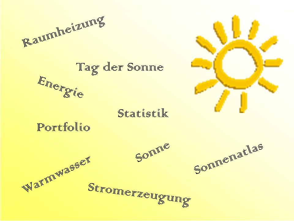 Sonne Energie Stromerzeugung Raumheizung Warmwasser Sonnenatlas Statistik Portfolio Tag der Sonne