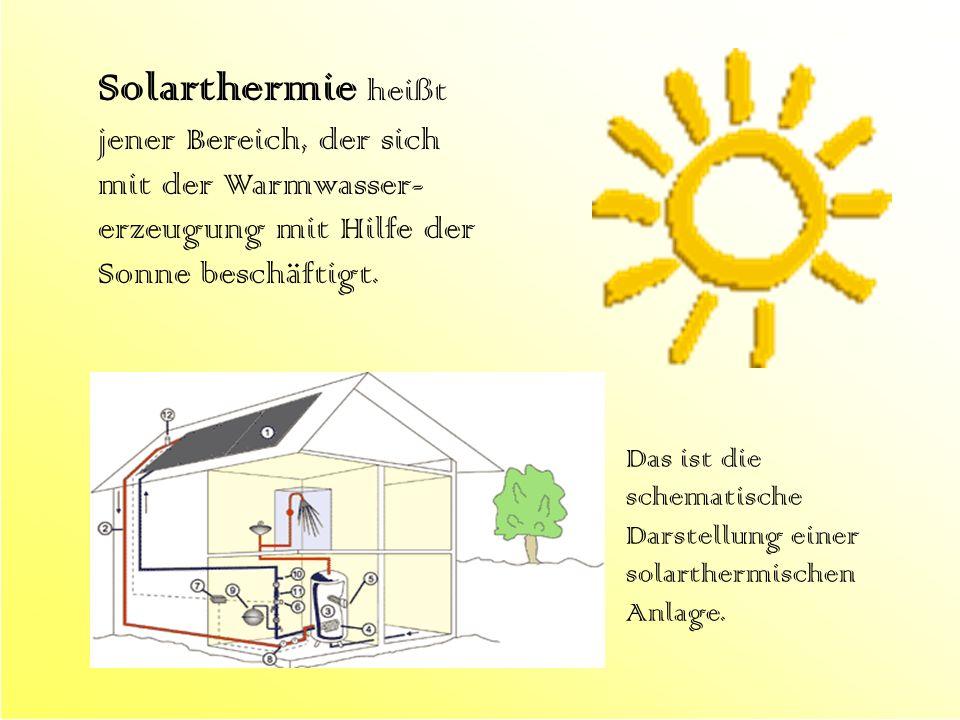 Solarthermie heißt jener Bereich, der sich mit der Warmwasser- erzeugung mit Hilfe der Sonne beschäftigt. Das ist die schematische Darstellung einer s