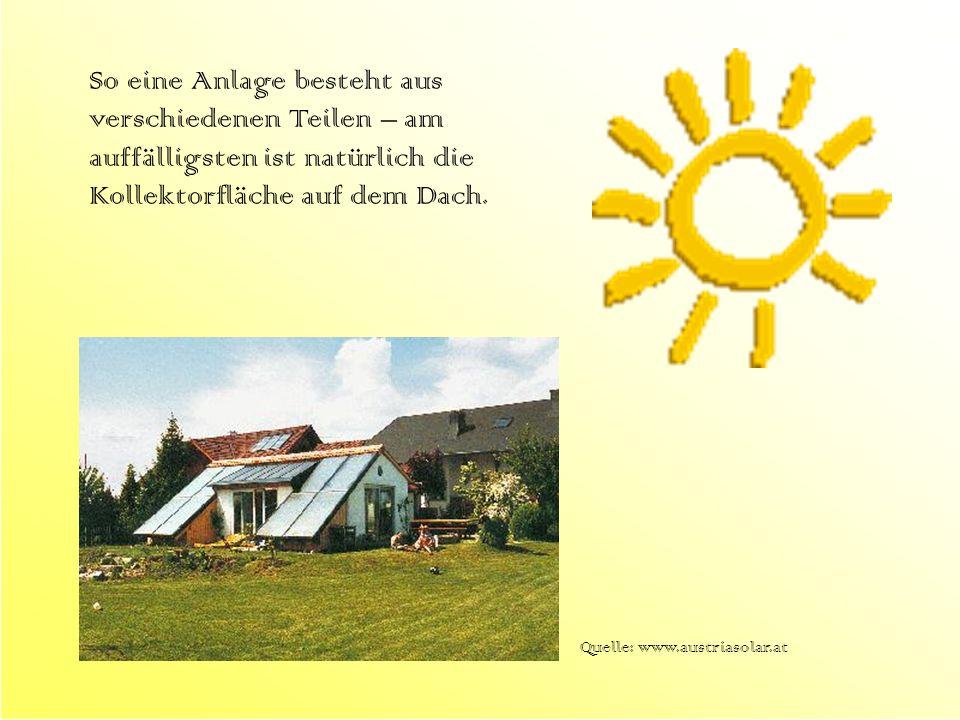 So eine Anlage besteht aus verschiedenen Teilen – am auffälligsten ist natürlich die Kollektorfläche auf dem Dach. Quelle: www.austriasolar.at