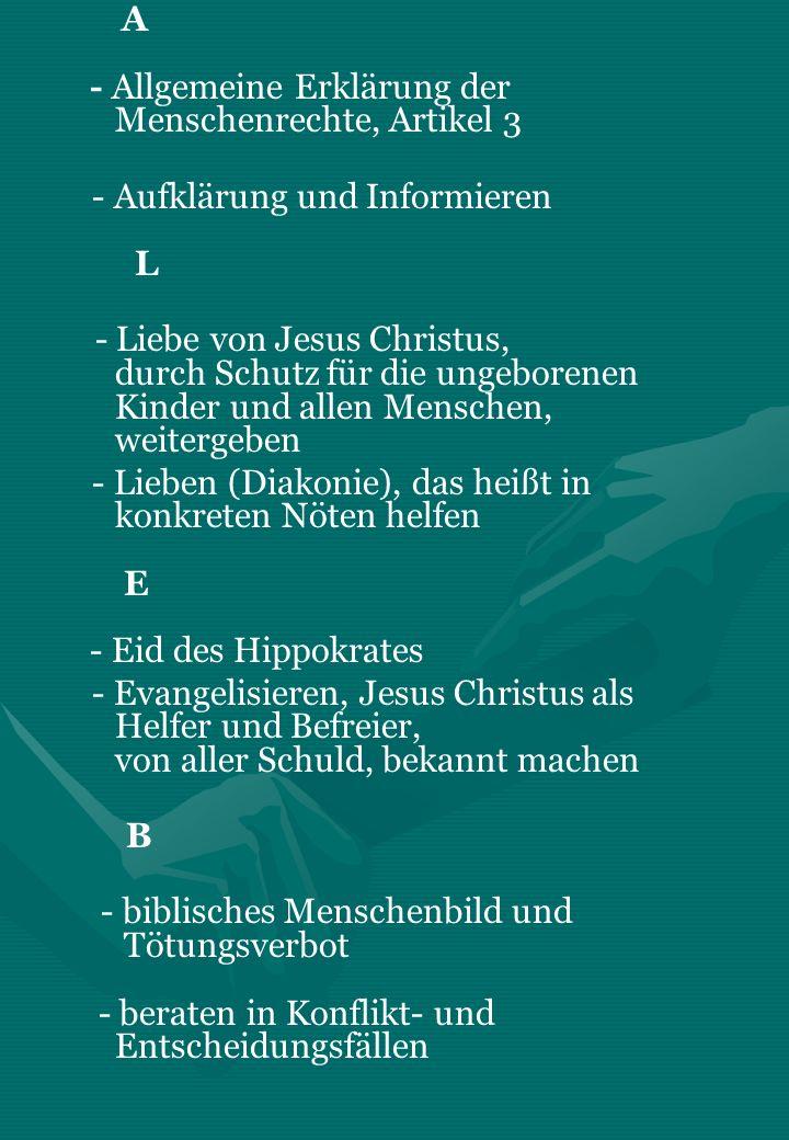 A - Allgemeine Erklärung der Menschenrechte, Artikel 3 - Aufklärung und Informieren L - Liebe von Jesus Christus, durch Schutz für die ungeborenen Kin