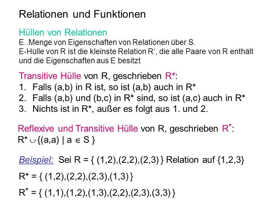 Relationen und Funktionen Hüllen von Relationen E..Menge von Eigenschaften von Relationen über S. E-Hülle von R ist die kleinste Relation R, die alle
