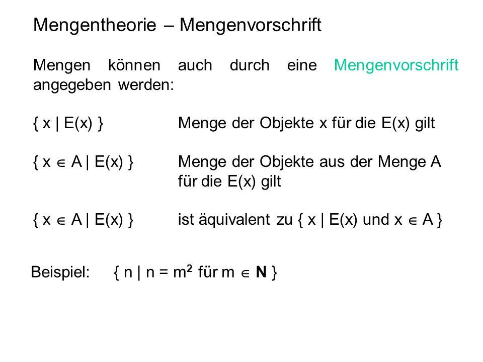 Mengentheorie – Mengenvorschrift Mengen können auch durch eine Mengenvorschrift angegeben werden: { x | E(x) } Menge der Objekte x für die E(x) gilt {