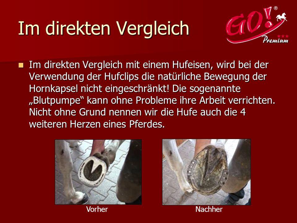 Im direkten Vergleich Im direkten Vergleich mit einem Hufeisen, wird bei der Verwendung der Hufclips die natürliche Bewegung der Hornkapsel nicht eingeschränkt.