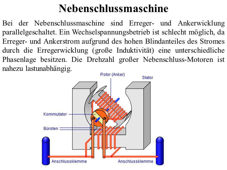 Nebenschlussmaschine Bei der Nebenschlussmaschine sind Erreger- und Ankerwicklung parallelgeschaltet. Ein Wechselspannungsbetrieb ist schlecht möglich