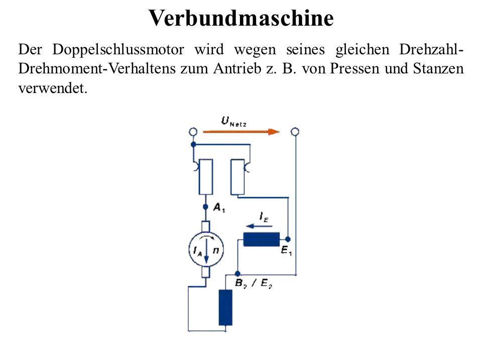 Verbundmaschine Der Doppelschlussmotor wird wegen seines gleichen Drehzahl- Drehmoment-Verhaltens zum Antrieb z. B. von Pressen und Stanzen verwendet.