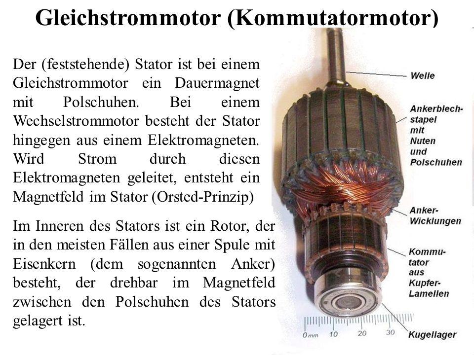 Gleichstrommotor (Kommutatormotor) Der (feststehende) Stator ist bei einem Gleichstrommotor ein Dauermagnet mit Polschuhen. Bei einem Wechselstrommoto