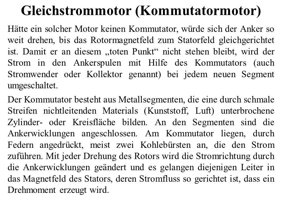Gleichstrommotor (Kommutatormotor) Hätte ein solcher Motor keinen Kommutator, würde sich der Anker so weit drehen, bis das Rotormagnetfeld zum Statorf