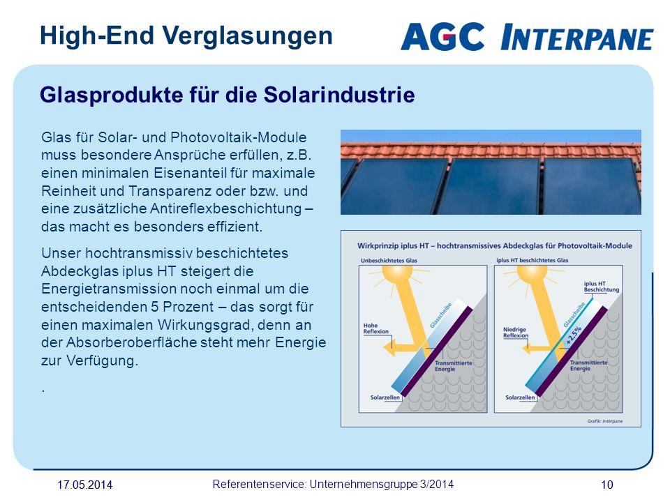 17.05.20141017.05.2014 Referentenservice: Unternehmensgruppe 3/2014 10 High-End Verglasungen Glasprodukte für die Solarindustrie Glas für Solar- und P