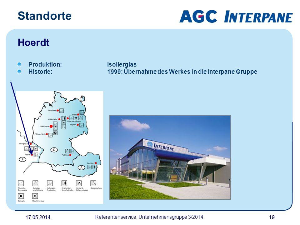 17.05.20141917.05.2014 Referentenservice: Unternehmensgruppe 3/2014 19 Produktion:Isolierglas Historie:1999: Übernahme des Werkes in die Interpane Gru