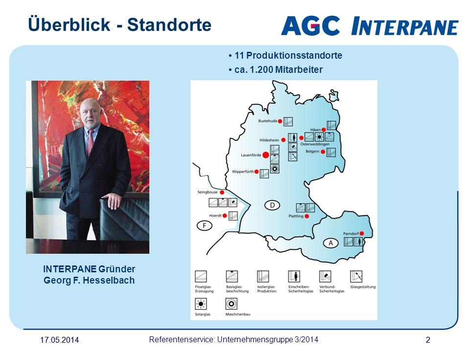 17.05.20142 Referentenservice: Unternehmensgruppe 3/2014 2 Überblick - Standorte INTERPANE Gründer Georg F. Hesselbach 11 Produktionsstandorte ca. 1.2