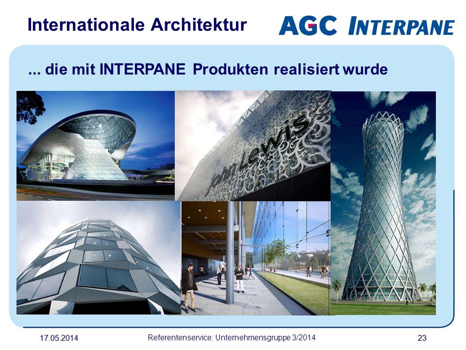 17.05.20142317.05.2014 Referentenservice: Unternehmensgruppe 3/2014 23 Internationale Architektur... die mit INTERPANE Produkten realisiert wurde