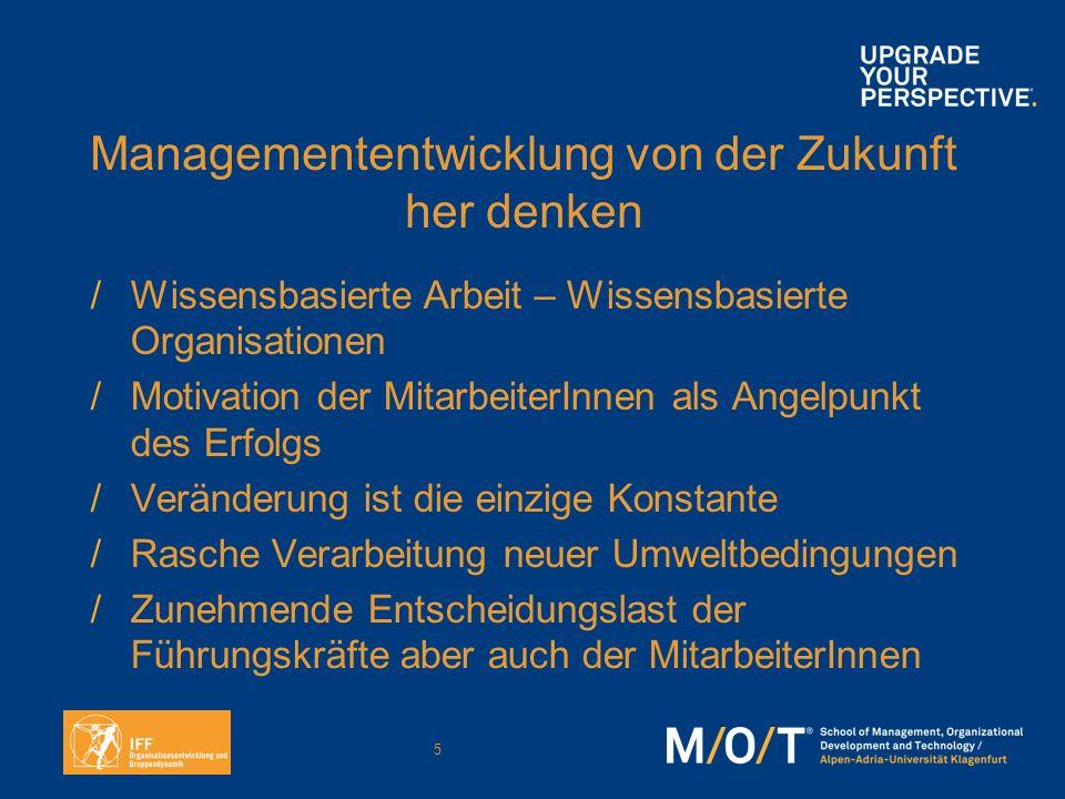 5 Managemententwicklung von der Zukunft her denken /Wissensbasierte Arbeit – Wissensbasierte Organisationen /Motivation der MitarbeiterInnen als Angel