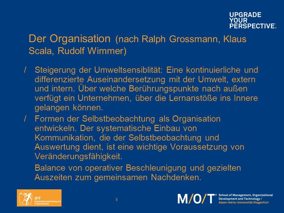 8 Der Organisation (nach Ralph Grossmann, Klaus Scala, Rudolf Wimmer) /Steigerung der Umweltsensiblität: Eine kontinuierliche und differenzierte Ausei
