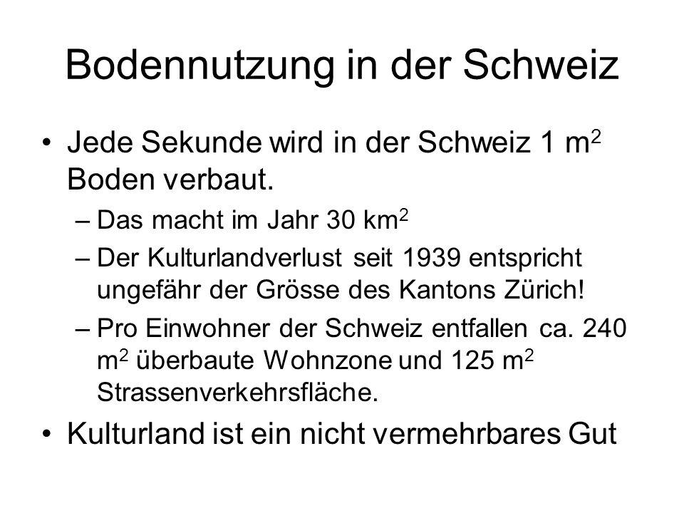 Bodennutzung in der Schweiz Jede Sekunde wird in der Schweiz 1 m 2 Boden verbaut. –Das macht im Jahr 30 km 2 –Der Kulturlandverlust seit 1939 entspric