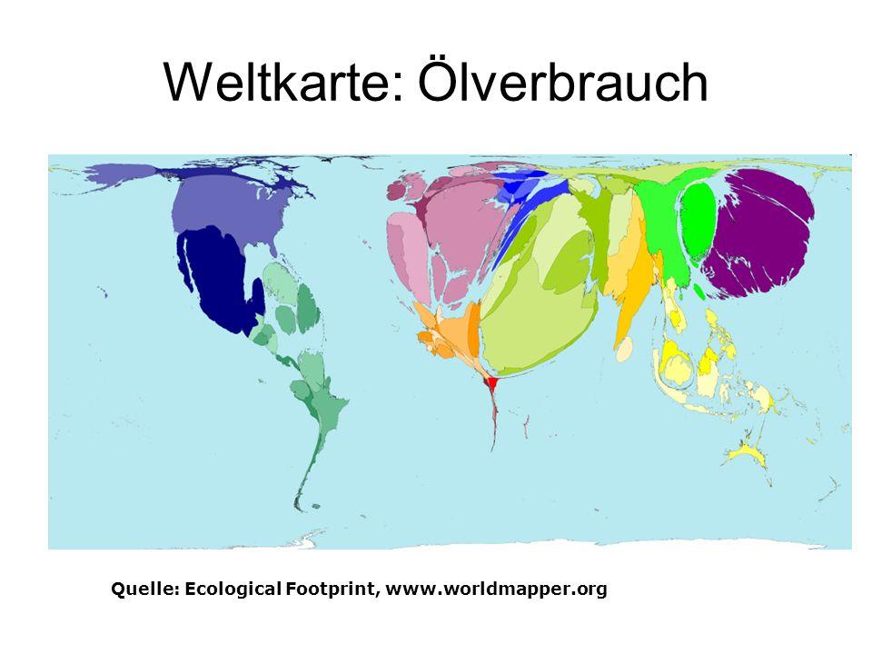 Ökologischer Fussabdruck Quelle: Ecological Footprint, www.worldmapper.org
