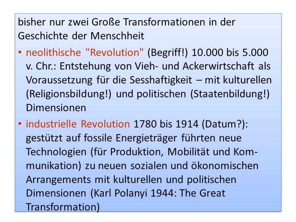 bisher nur zwei Große Transformationen in der Geschichte der Menschheit neolithische