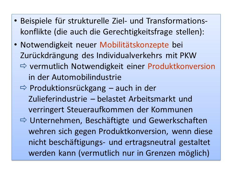 Beispiele für strukturelle Ziel- und Transformations- konflikte (die auch die Gerechtigkeitsfrage stellen): Notwendigkeit neuer Mobilitätskonzepte bei