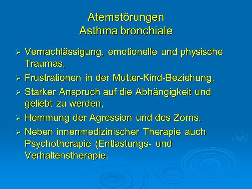Atemstörungen Asthma bronchiale Vernachlässigung, emotionelle und physische Traumas, Vernachlässigung, emotionelle und physische Traumas, Frustratione