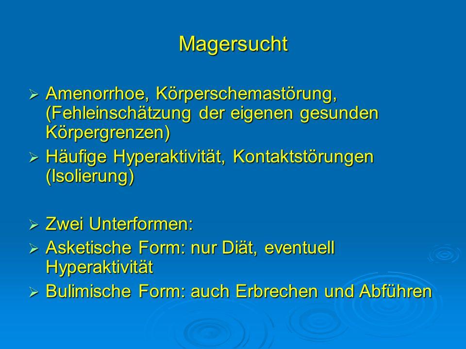 Magersucht Amenorrhoe, Körperschemastörung, (Fehleinschätzung der eigenen gesunden Körpergrenzen) Amenorrhoe, Körperschemastörung, (Fehleinschätzung d