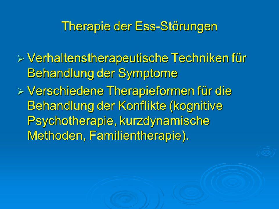 Therapie der Ess-Störungen Verhaltenstherapeutische Techniken für Behandlung der Symptome Verhaltenstherapeutische Techniken für Behandlung der Sympto