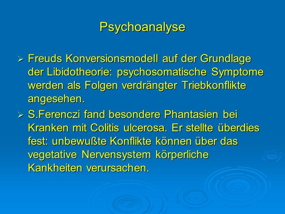 Psychoanalyse Freuds Konversionsmodell auf der Grundlage der Libidotheorie: psychosomatische Symptome werden als Folgen verdrängter Triebkonflikte ang