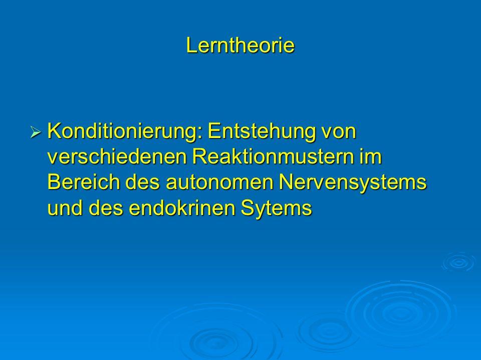 Lerntheorie Konditionierung: Entstehung von verschiedenen Reaktionmustern im Bereich des autonomen Nervensystems und des endokrinen Sytems Konditionie