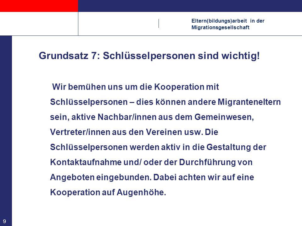 Eltern(bildungs)arbeit in der Migrationsgesellschaft 10 Grundsatz 8: Verständigung organisieren Nicht die mangelnden Deutschkenntnisse der Eltern sind das Problem, für das wir eine Lösung brauchen, sondern die Tatsache, dass die Mitarbeiter/in der Einrichtung und die Eltern nicht auf die gleiche Sprache zurückgreifen können.