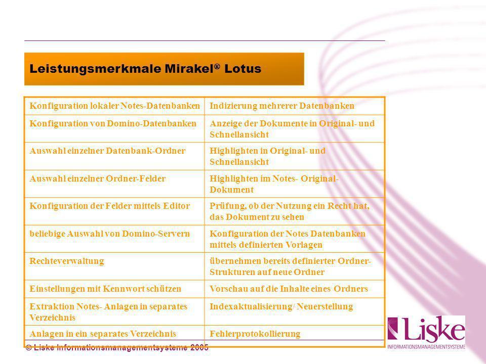 Liske Informationsmanagementsysteme 2005 Leistungsmerkmale Mirakel Lotus Konfiguration lokaler Notes-DatenbankenIndizierung mehrerer Datenbanken Konfi