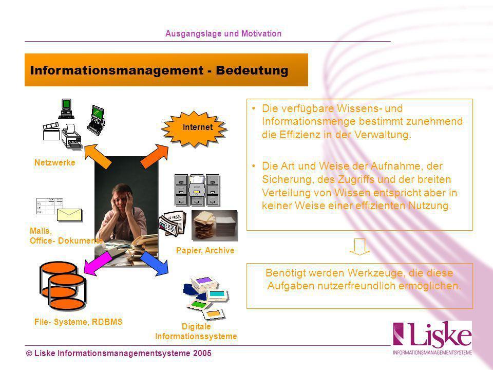 Liske Informationsmanagementsysteme 2005 Mails, Office- Dokumente File- Systeme, RDBMS Netzwerke Internet Papier, Archive Digitale Informationssysteme