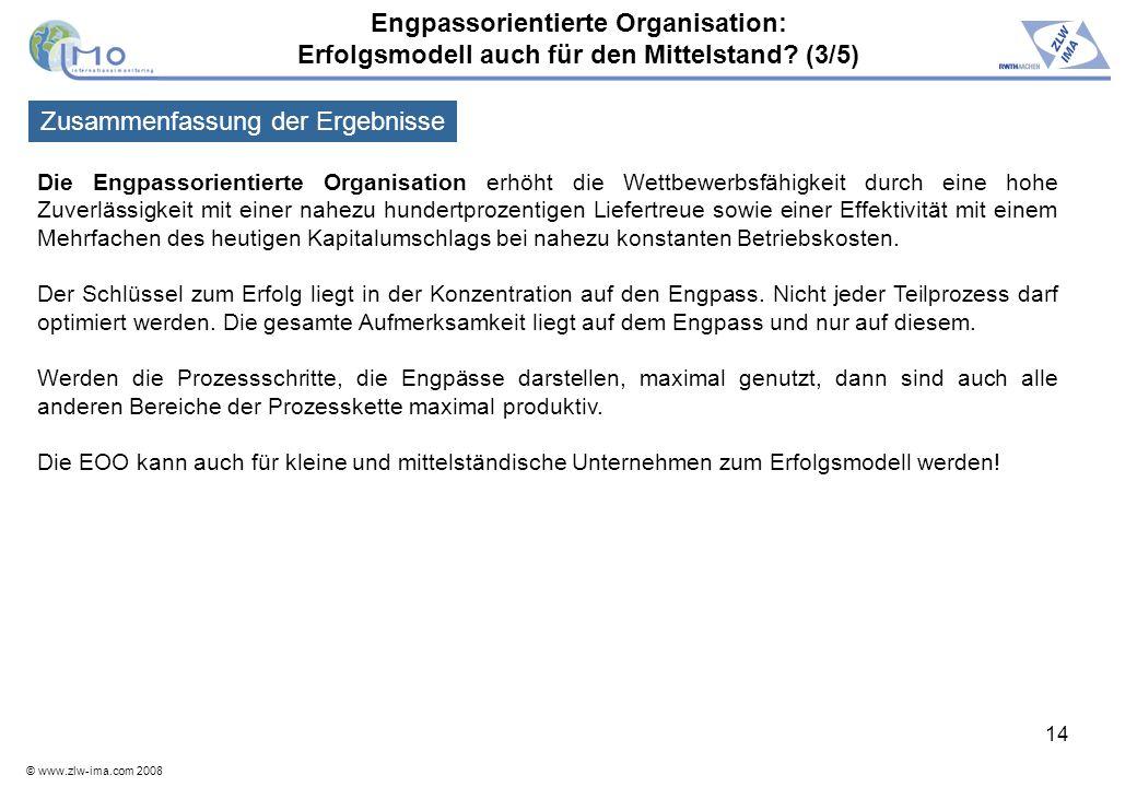 © www.zlw-ima.com 2008 14 Die Engpassorientierte Organisation erhöht die Wettbewerbsfähigkeit durch eine hohe Zuverlässigkeit mit einer nahezu hundert