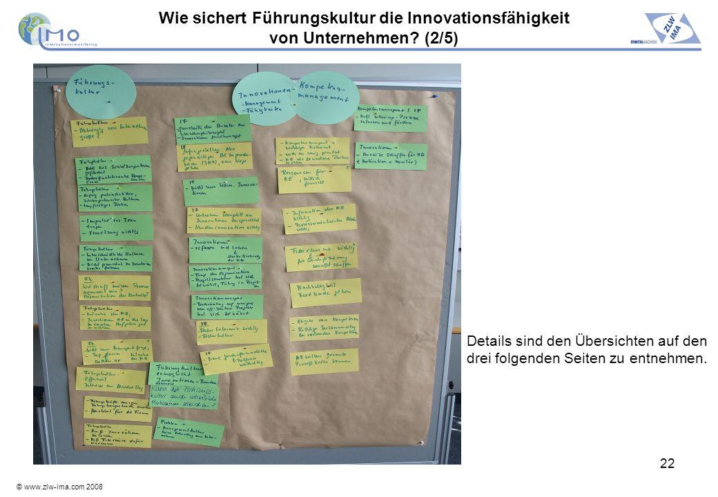 © www.zlw-ima.com 2008 22 Wie sichert Führungskultur die Innovationsfähigkeit von Unternehmen? (2/5) Details sind den Übersichten auf den drei folgend