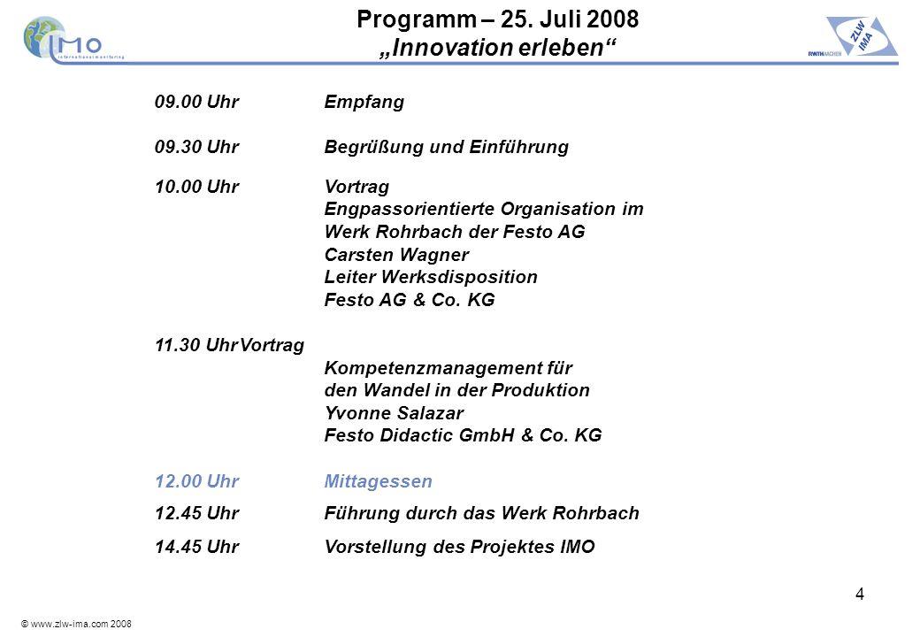 © www.zlw-ima.com 2008 4 Programm – 25. Juli 2008 Innovation erleben 09.00 UhrEmpfang 09.30 UhrBegrüßung und Einführung 10.00 UhrVortrag Engpassorient